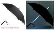 Светящийся зонт,  оригинальный зонтик,  зонт со светящейся ручкой,  ориги