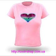 Футболка с эквалайзером,  светящаяся футболка,  крутая футболка,  футболк