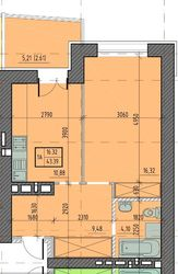 5 поверх!!! 1 кімн 43 м2